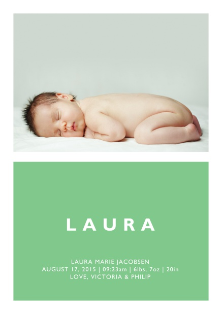 Online Birth annoucement card with large photo and colorful text feld with editable text in multiple colors. Green.
