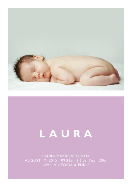Online Birth annoucement card with large photo and colorful text feld with editable text in multiple colors. Pink.