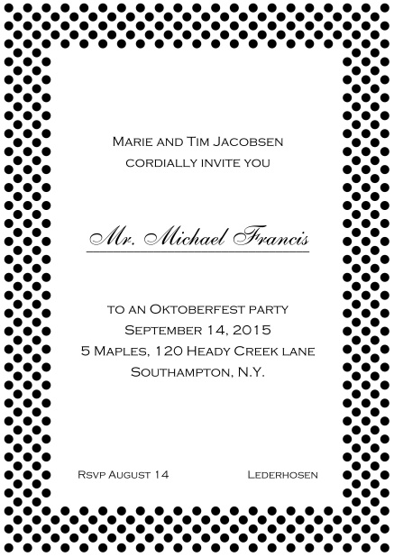 Classic online invitation card with small poka dotted frame and editable text. Black.