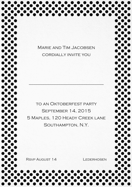 Classic invitation card with small poka dotted frame and editable text. Black.