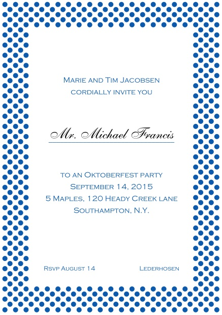 Classic online invitation card with small poka dotted frame and editable text. Blue.