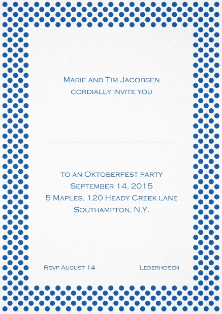 Classic invitation card with small poka dotted frame and editable text. Blue.
