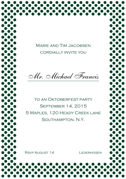 Classic online invitation card with small poka dotted frame and editable text. Green.