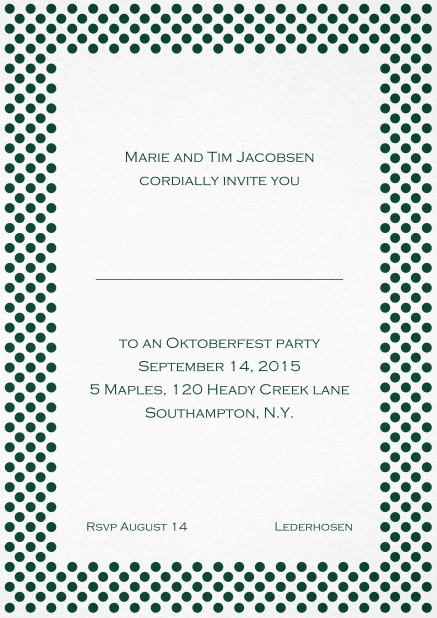 Classic invitation card with small poka dotted frame and editable text. Green.