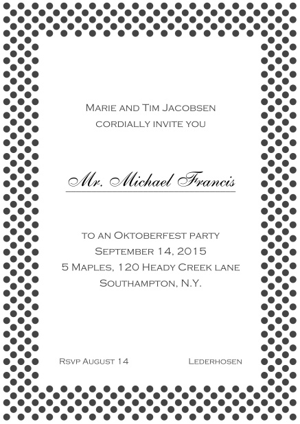 Classic online invitation card with small poka dotted frame and editable text. Grey.