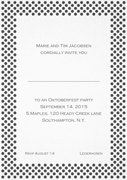 Classic invitation card with small poka dotted frame and editable text. Grey.