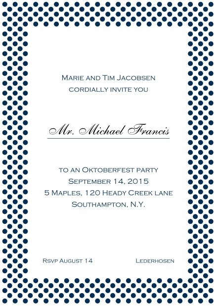 Classic online invitation card with small poka dotted frame and editable text. Navy.