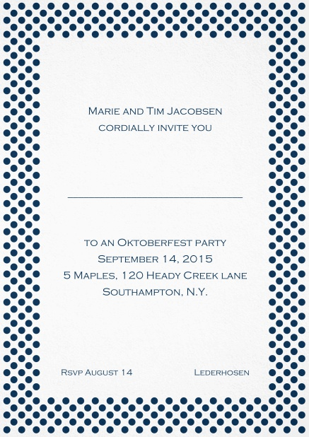 Classic invitation card with small poka dotted frame and editable text. Navy.