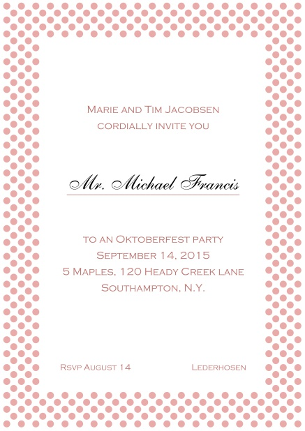 Classic online invitation card with small poka dotted frame and editable text. Pink.