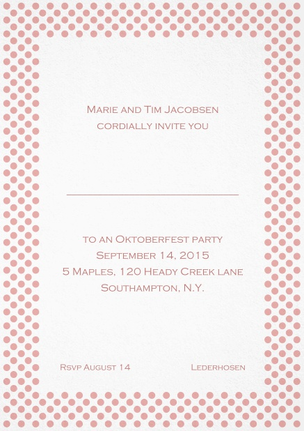 Classic invitation card with small poka dotted frame and editable text. Pink.
