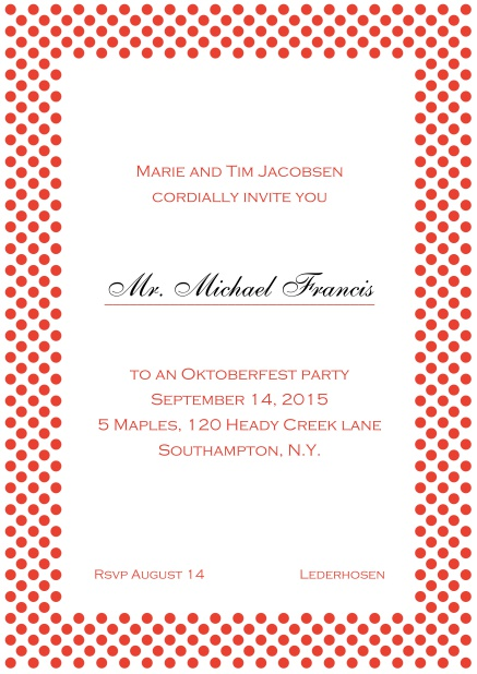 Classic online invitation card with small poka dotted frame and editable text. Red.
