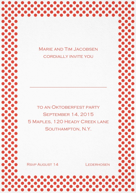 Classic invitation card with small poka dotted frame and editable text. Red.