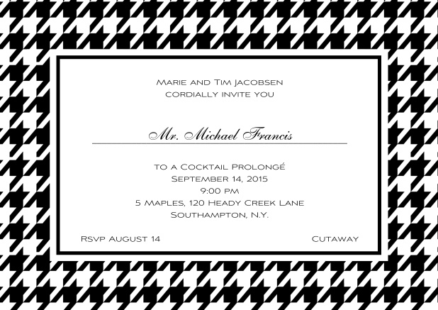 Classic landscape online invitation card with modern frame, editable text and line for personal addressing. Black.