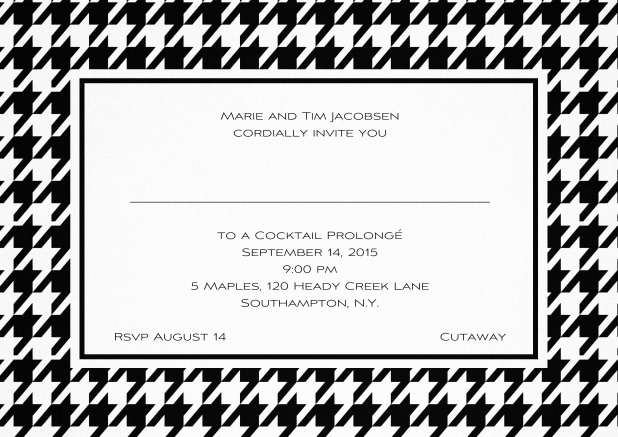 Classic landscape invitation card with modern frame, editable text and line for personal addressing. Black.