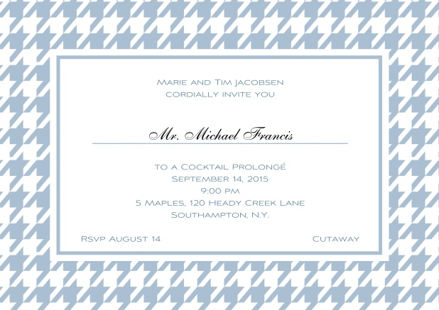 Classic landscape online invitation card with modern frame, editable text and line for personal addressing. Blue.
