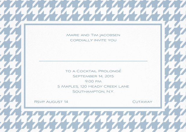 Classic landscape invitation card with modern frame, editable text and line for personal addressing. Blue.