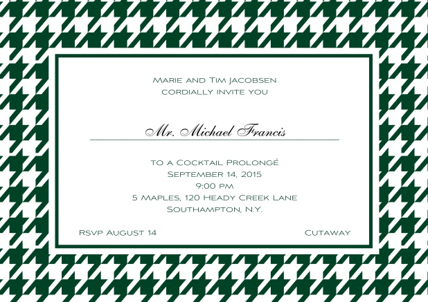 Classic landscape online invitation card with modern frame, editable text and line for personal addressing. Green.