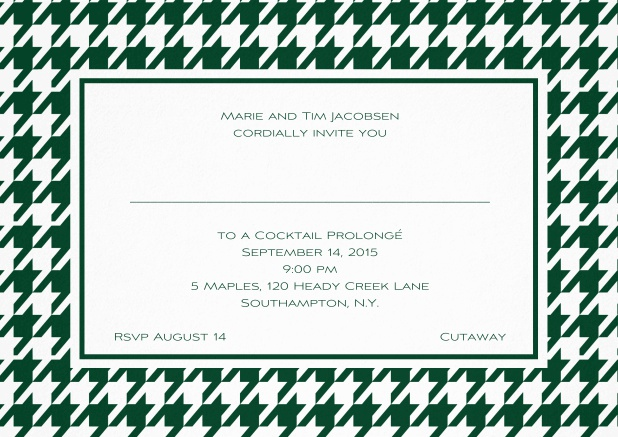 Classic landscape invitation card with modern frame, editable text and line for personal addressing. Green.