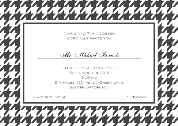 Classic landscape online invitation card with modern frame, editable text and line for personal addressing. Grey.