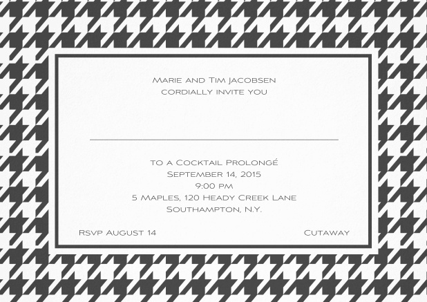 Classic landscape invitation card with modern frame, editable text and line for personal addressing. Grey.