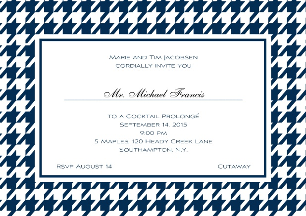 Classic landscape online invitation card with modern frame, editable text and line for personal addressing. Navy.