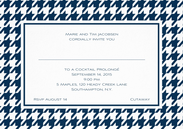 Classic landscape invitation card with modern frame, editable text and line for personal addressing. Navy.
