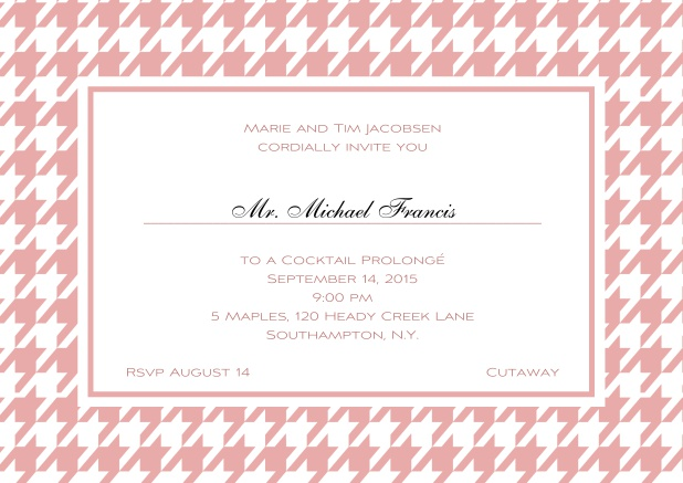 Classic landscape online invitation card with modern frame, editable text and line for personal addressing. Pink.