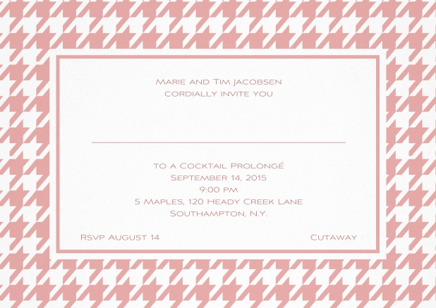Classic landscape invitation card with modern frame, editable text and line for personal addressing. Pink.