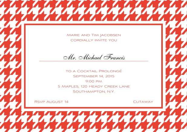 Classic landscape online invitation card with modern frame, editable text and line for personal addressing. Red.