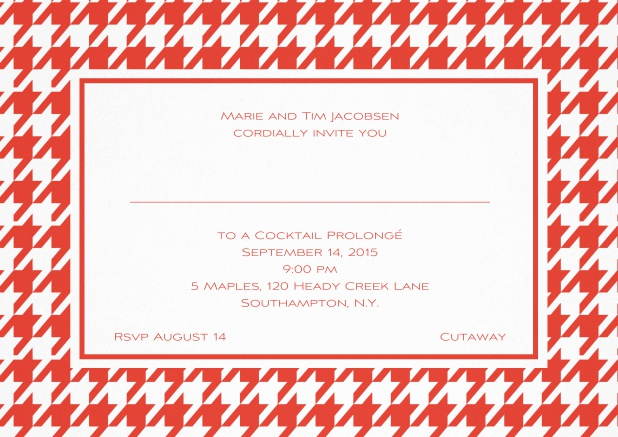 Classic landscape invitation card with modern frame, editable text and line for personal addressing. Red.