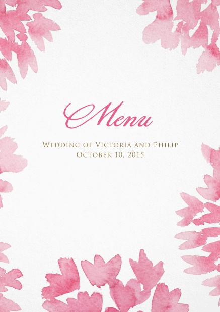 A sea of flowers menu cards menu card design with pink water color flowers mightylinksfo