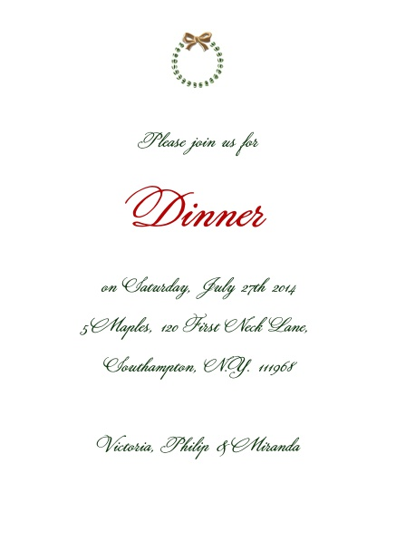Elegant Online Party Invitation card with silver and red wreath.
