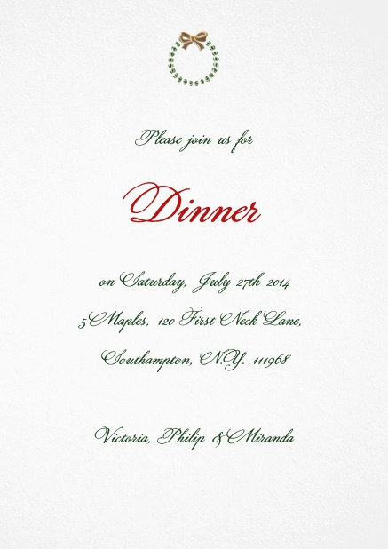 Elegant Christmas Party Invitation card with silver and red wreath.