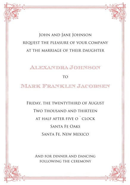 Online Formal Invitation card for weddings and precious birthday invitations with red frame.