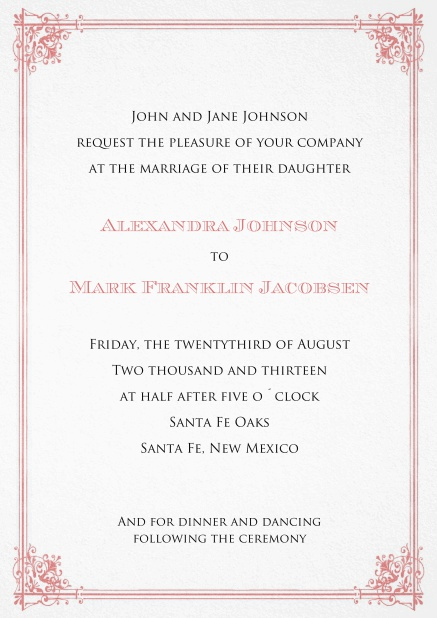 Formal Invitation card for weddings and precious birthday invitations with red frame.