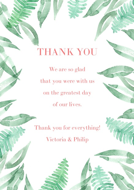 Online Thank you card with green leaf design.