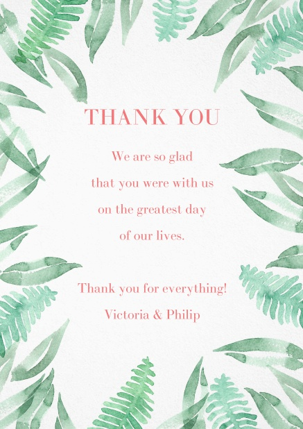 Thank you card with green leaf design.