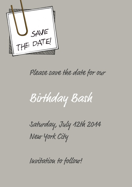 Online Wedding Save the date with pinned on note and editable text.