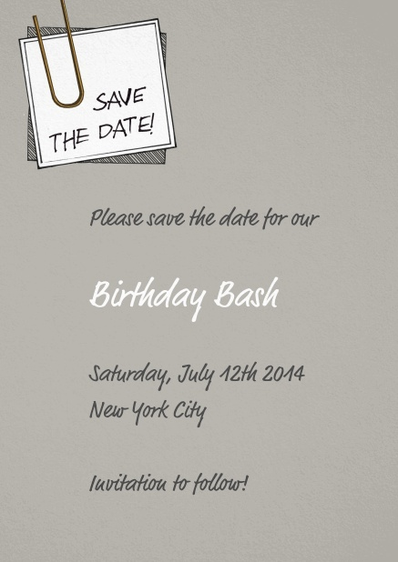 Wedding Save the date with pinned on note and editable text.