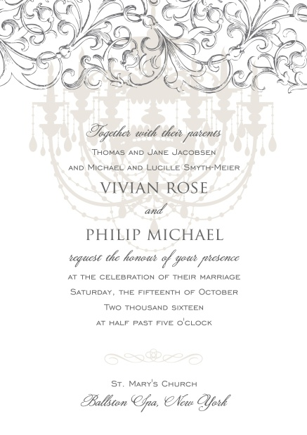 Online formal Invitation card for weddings and precious birthday invitations with grey chandelier at the top.