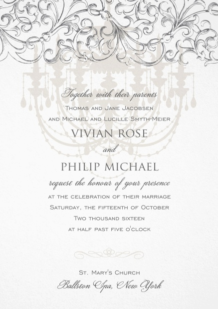 Formal Invitation card for weddings and precious birthday invitations with grey chandelier at the top.