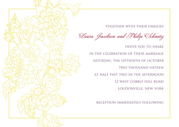 Online wedding invitation card with thin golden frame and gold leaf.