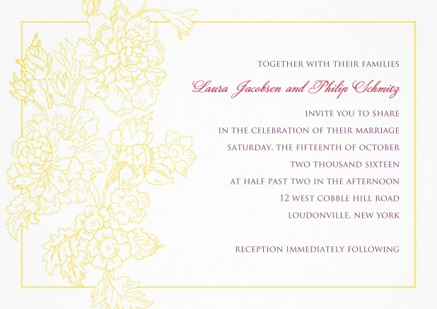 Wedding invitation card with thin golden frame and gold leaf.