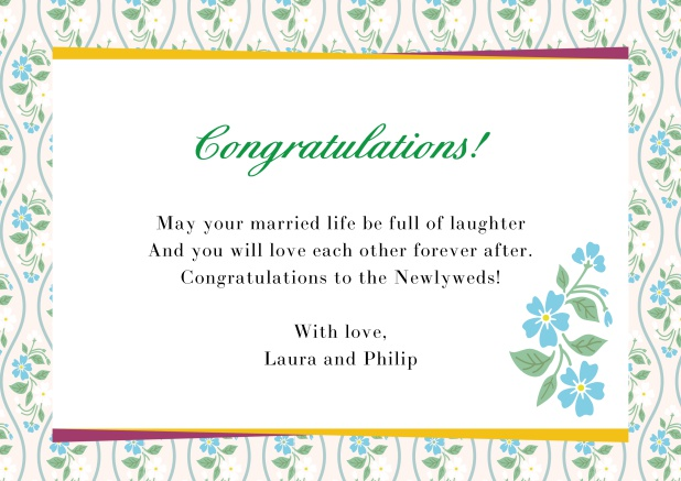 Online congratualations card with flower frame Blue.