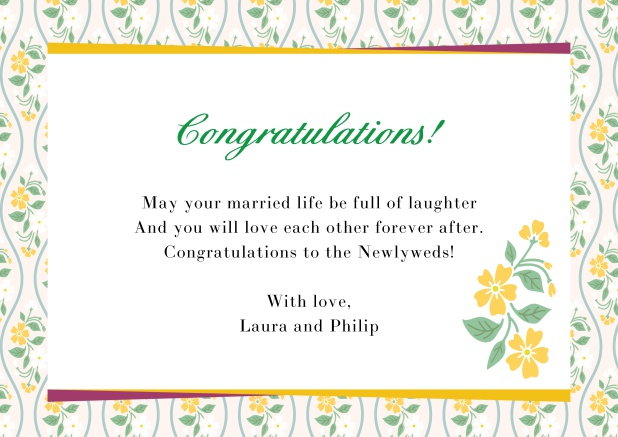 Online congratualations card with flower frame Yellow.