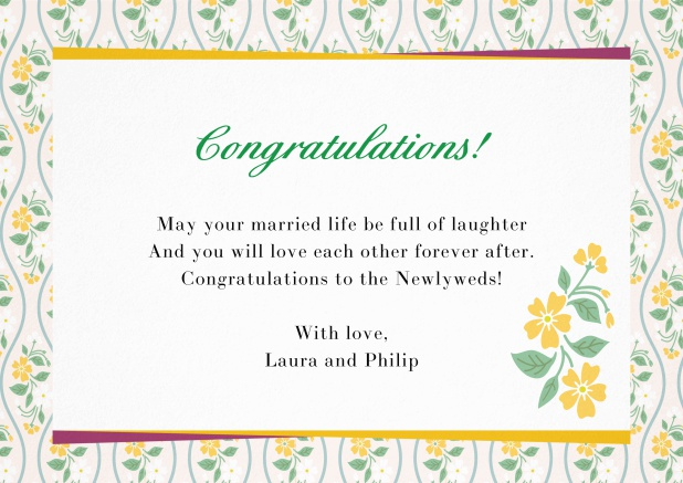 Paper congratualations card with flower frame Yellow.