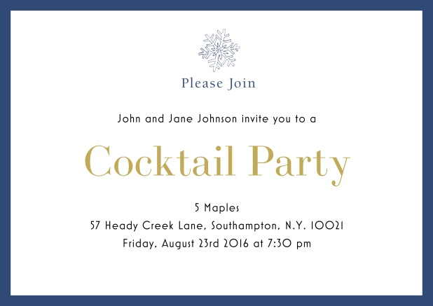 Online Cocktail party invitation card with snow flake and colorful frame. Blue.