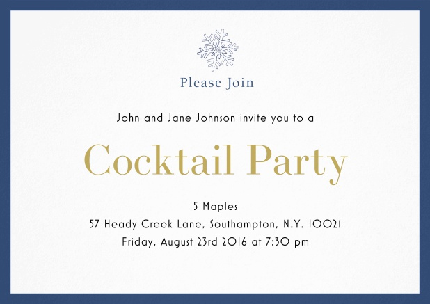 Cocktail party invitation card with snow flake and colorful frame. Blue.