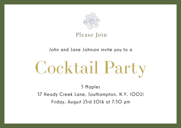 Online Cocktail party invitation card with snow flake and colorful frame. Green.