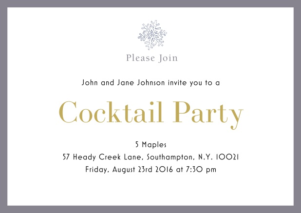Online Cocktail party invitation card with snow flake and colorful frame. Grey.